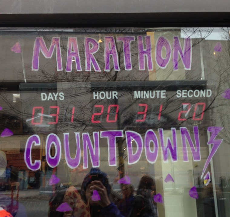 Marathon Sports added a race countdown clock to their front window.