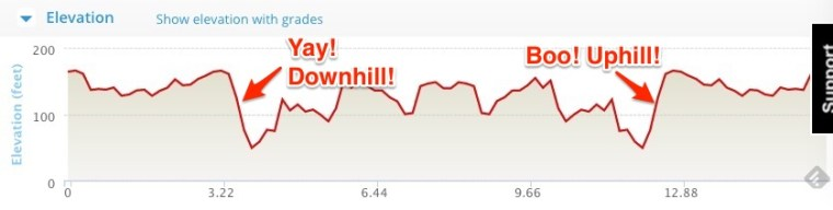 My deep thoughts on the run's elevation profile.