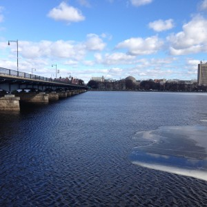 View on the river on my run. The ice that was melting in this photo is finally gone now!