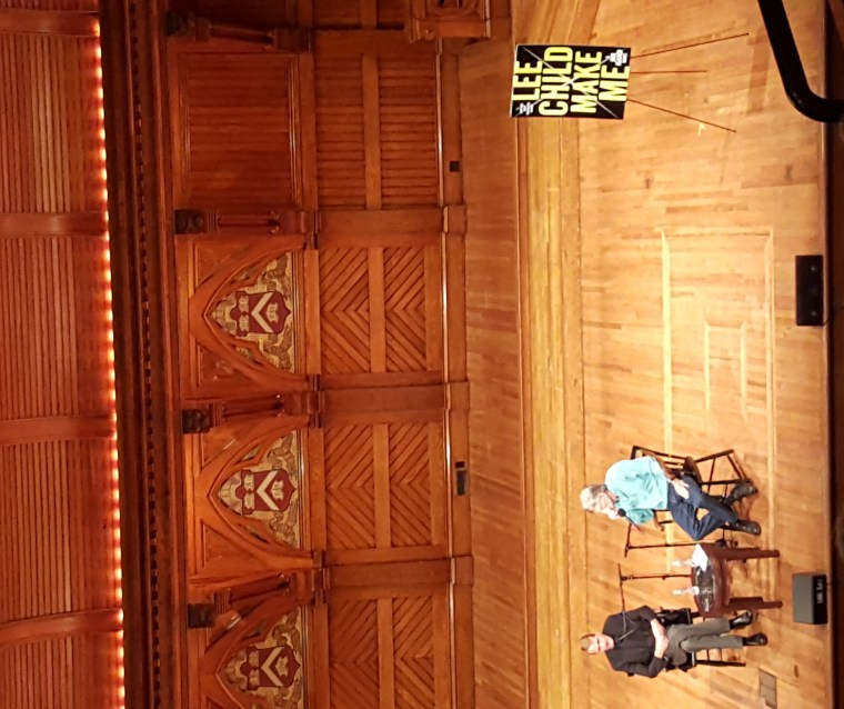 Lee Child (left) and Stephen King (right) as seen from the nosebleed seats.
