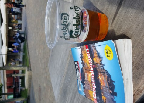 Carlsberg beer on a beautiful day in the brewery courtyard.