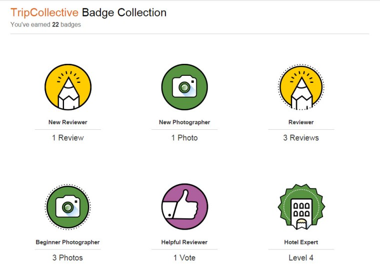 Badges! Lots of badges, with clear explanations of how they were earned and how to reach the next level.