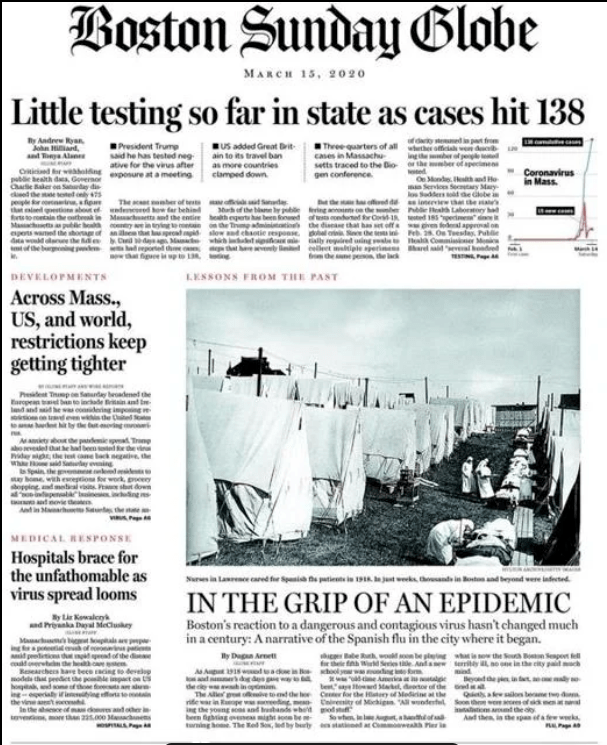 Front page of the Boston Globe newspaper on March 15, 2020