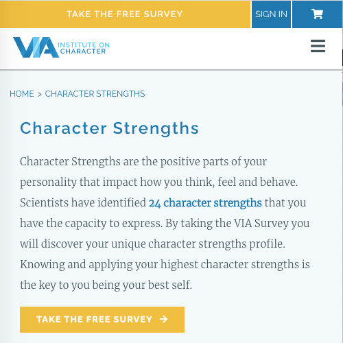 A screenshot of the Values in Action Survey site describing what a character strength is