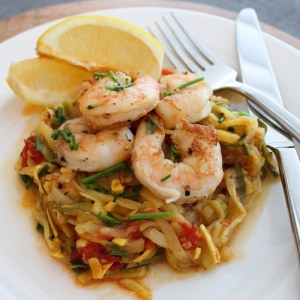 Lemon Garlic Zucchini Noodles with Shrimp