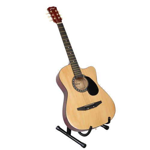 Acoustic Cutaway Guitar Natural w/ Steel String Stand Strap