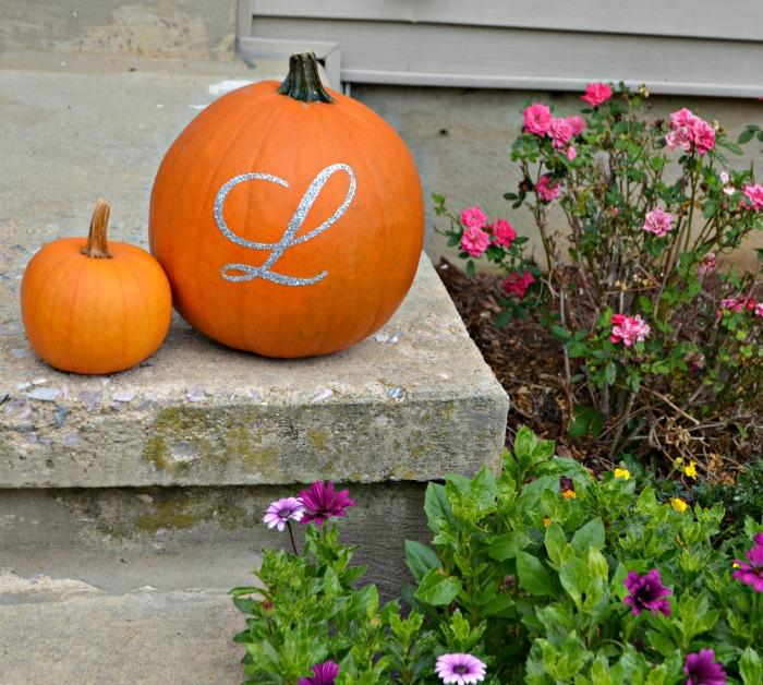 Glitter Monogram Pumpkin