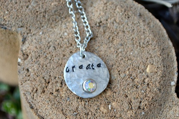 Metal Stamped Pendant with Rivet