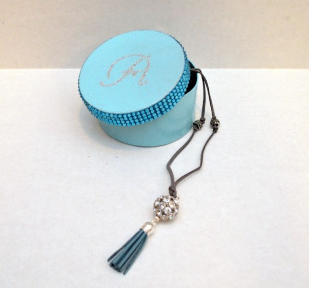 Monogram Jewelry Box and Tassel Necklace