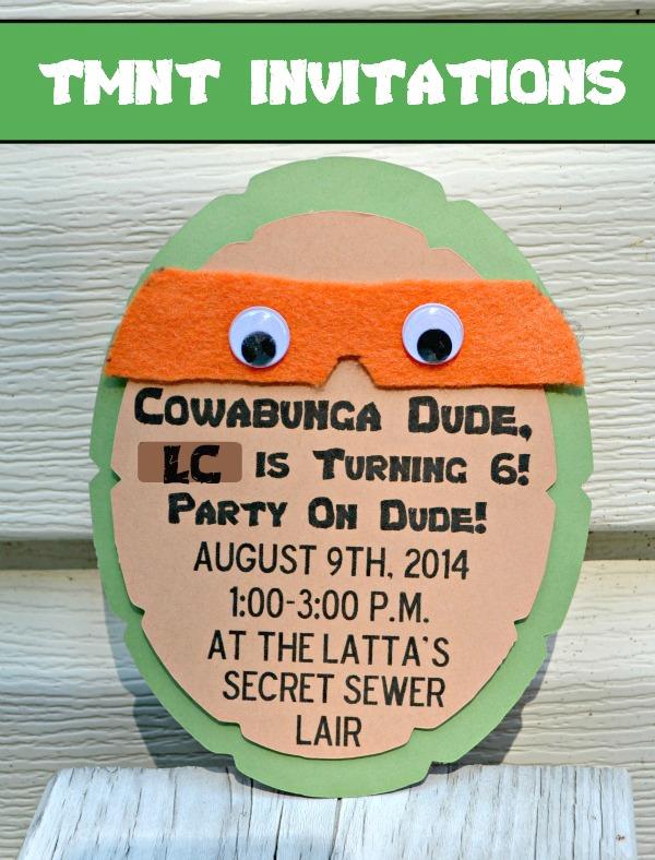 Teenage Mutant Ninja Turtle Party Invitations Amy Latta Creations