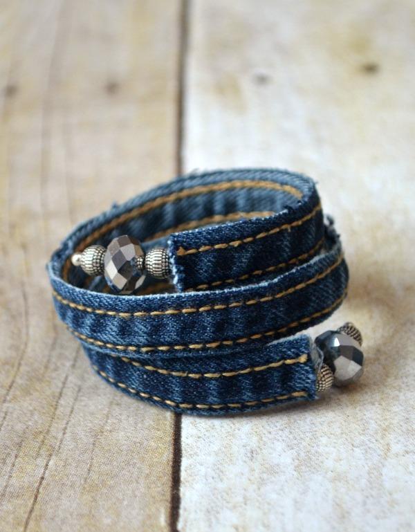 Denim Wrap Bracelet Made from Old Jeans