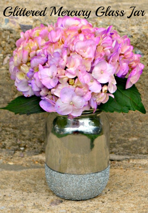 Mercury Glass and Glitter Vase