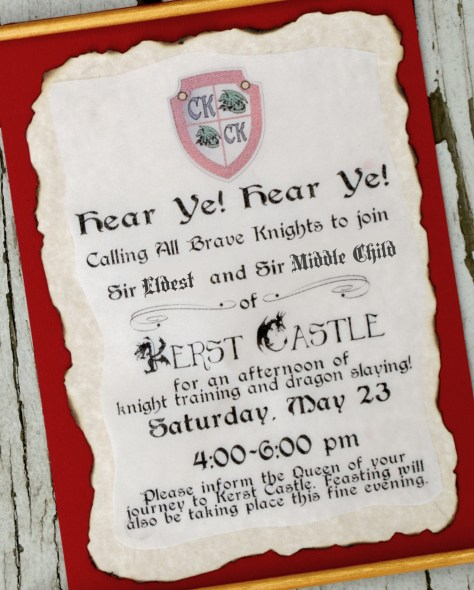 Knights and Dragons Party Invitation