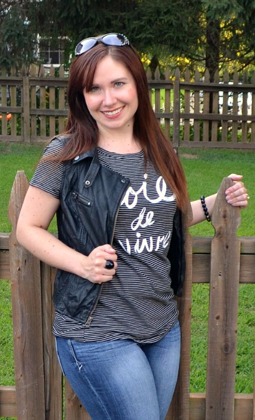 Leather Vest with Graphic Tee
