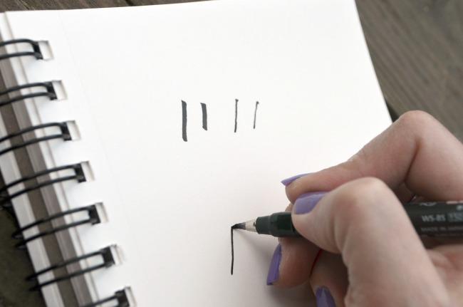 Brush lettering upstrokes