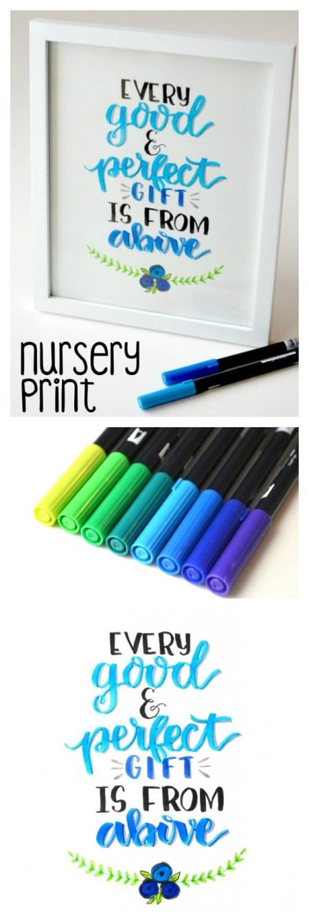 Nursery Print - Hand Lettered Printable