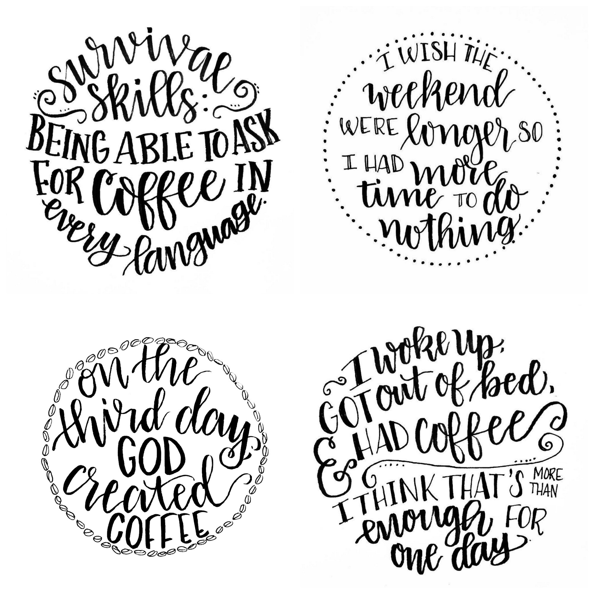 Circular Hand Lettered Designs