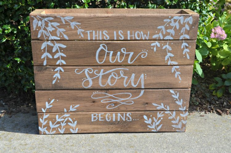 Rustic Wedding Sign: Our Story Begins