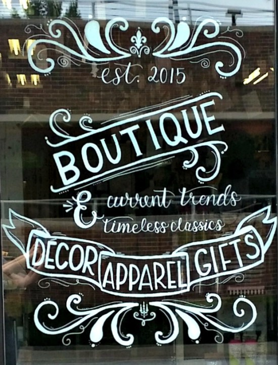 Lettered shop window