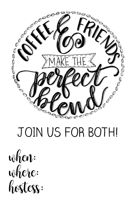Hand Lettered Coffee & Friends Invitation Printable