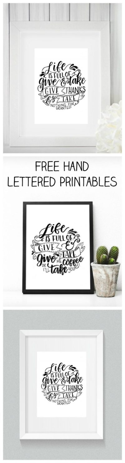 Free Hand Lettered Printables