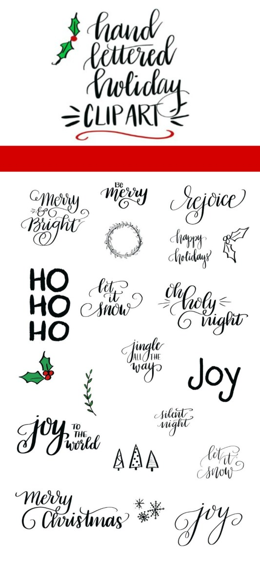 Hand Lettered Holiday Clip Art