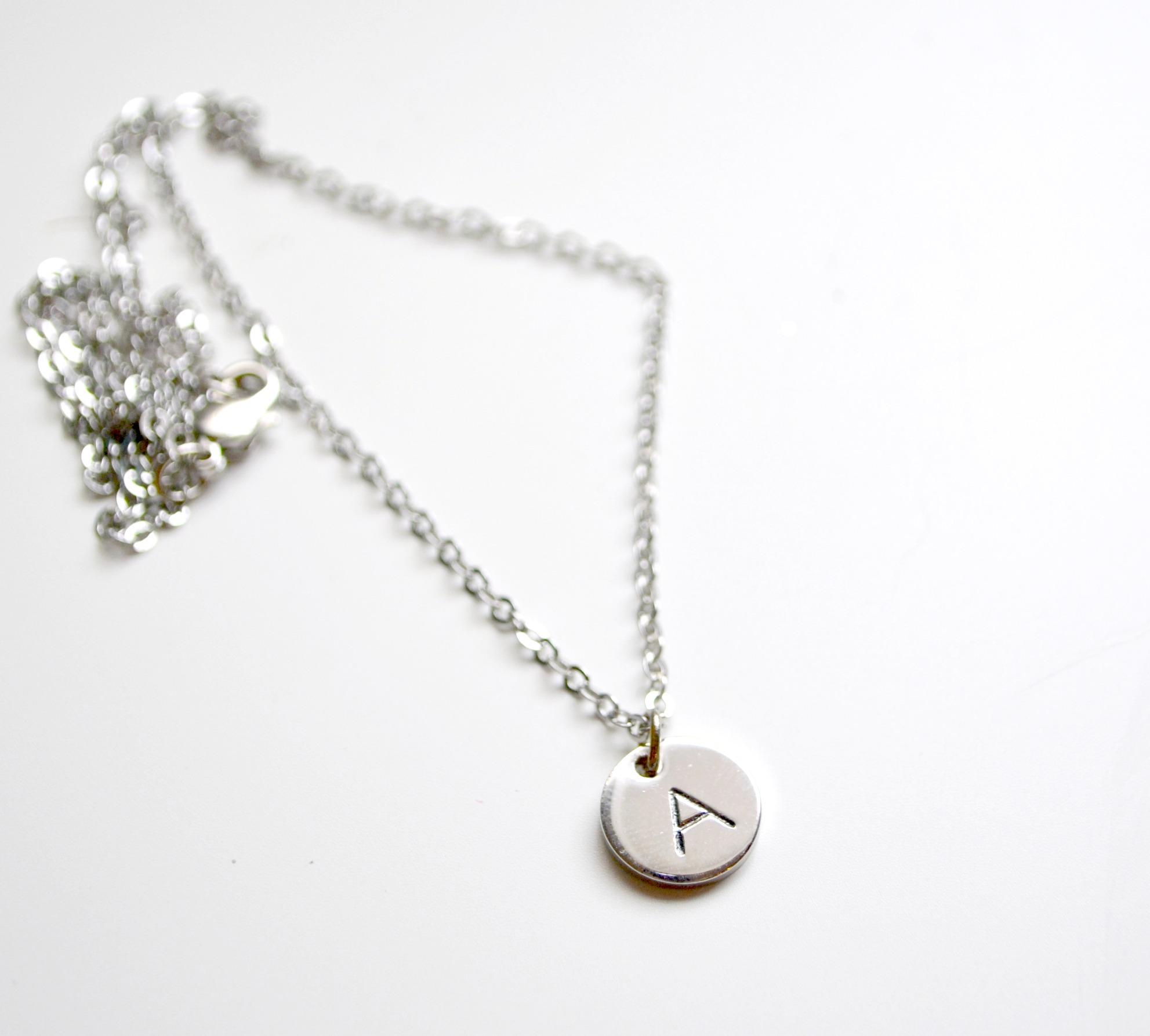Metal Stamped Monogram Necklace