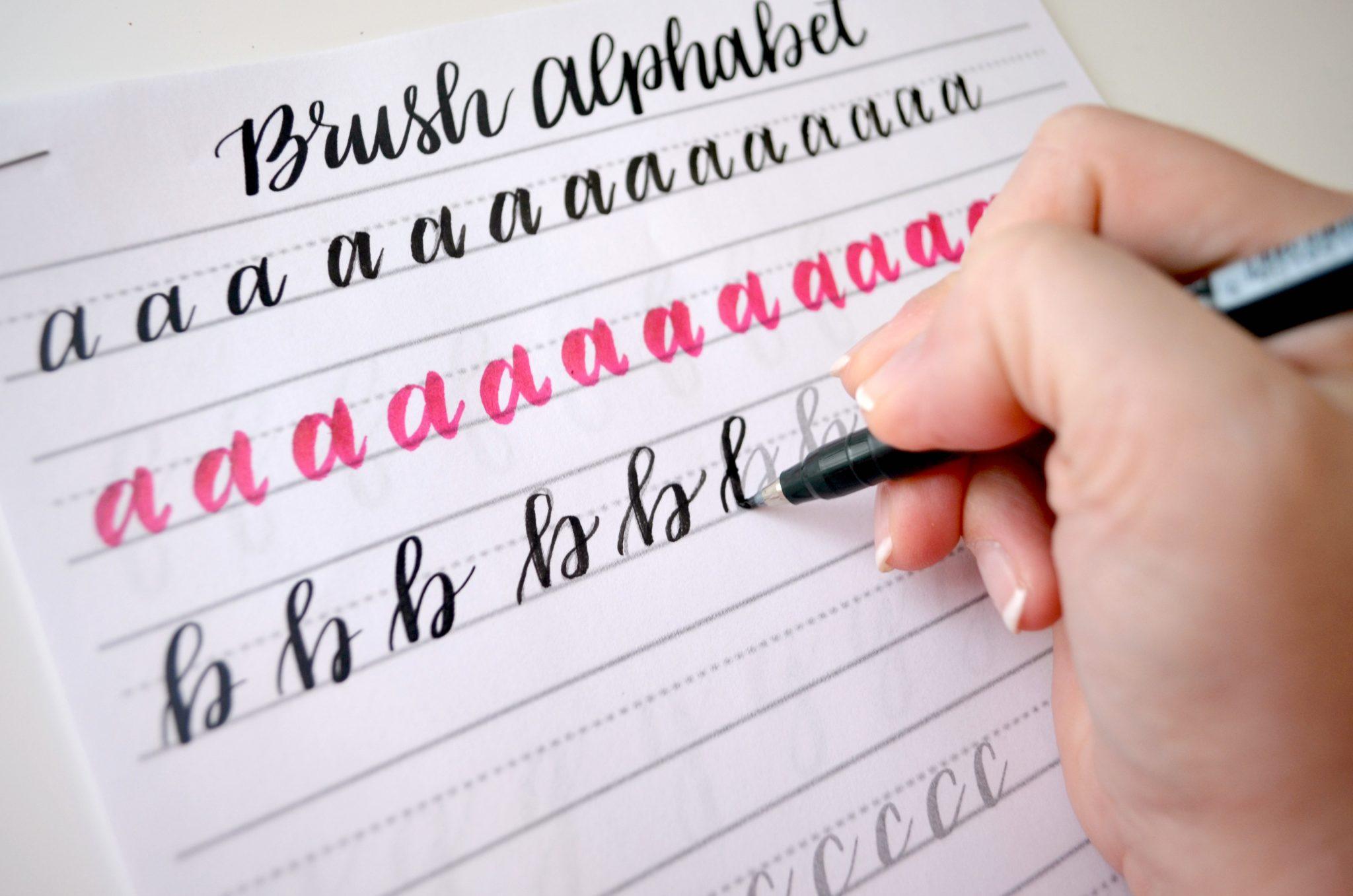 Free Brush Lettering Practice Sheets Lowercase Alphabet