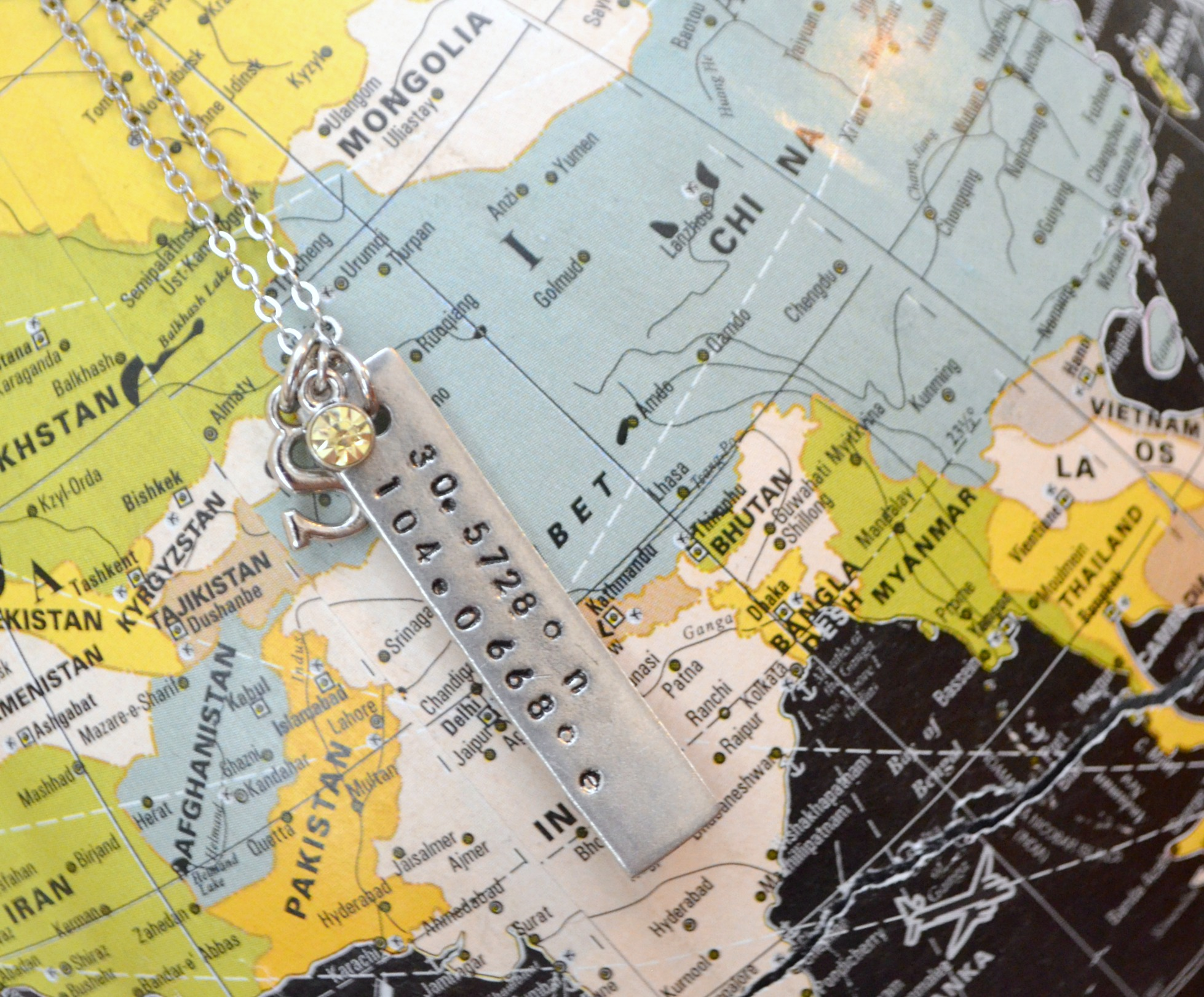 Metal Stamped GPS Coordinates Necklace