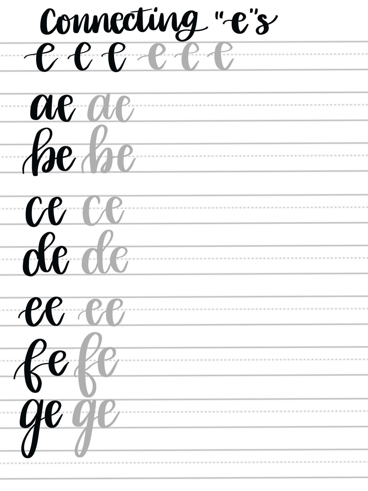 Hand Lettering Practice Pages: Connecting Letters