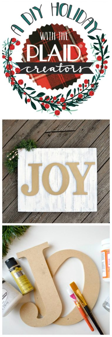 Glittered Metallic Holiday Sign