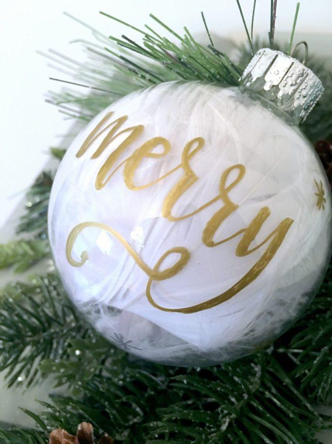 Hand Lettered Christmas Ornament