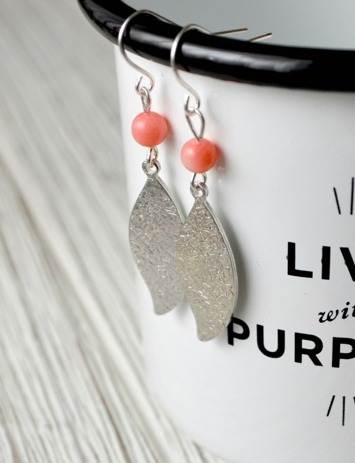 Metal Stamped Textured Leaf Earrings