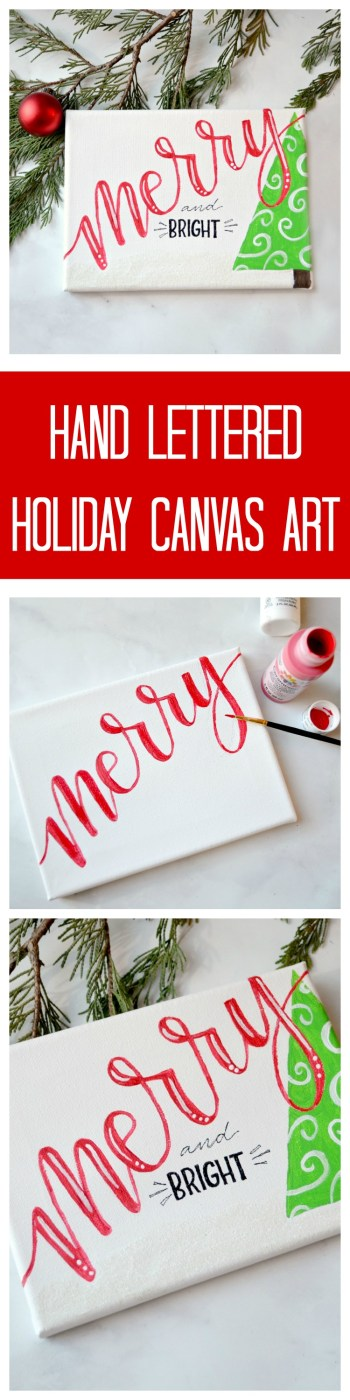 Hand Lettered Holiday Canvas Art