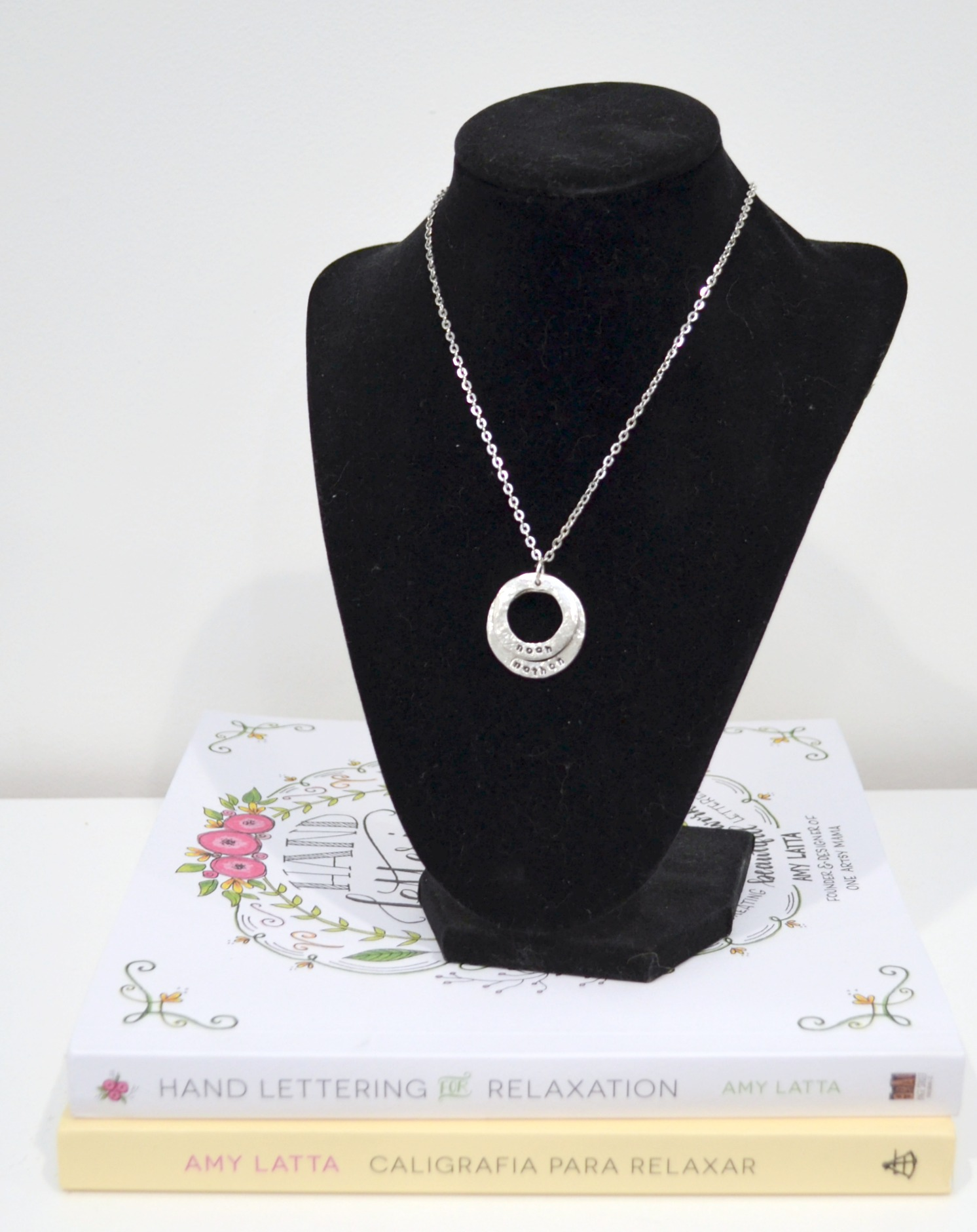 Metal Stamped Layered Washer Necklace