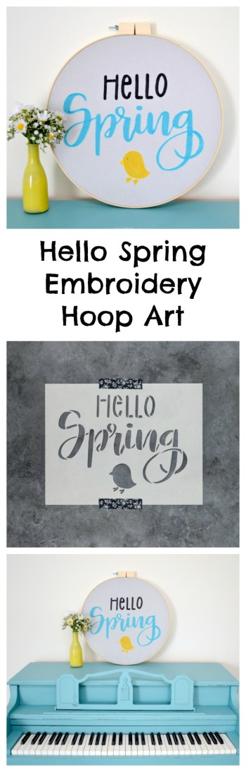 Hello Spring Stenciled Embroidery Hoop Art