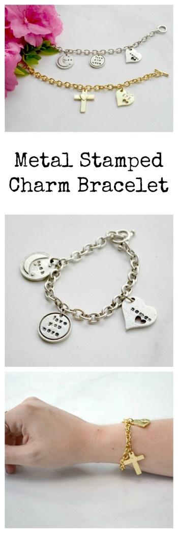 Metal Stamped Charm Bracelet