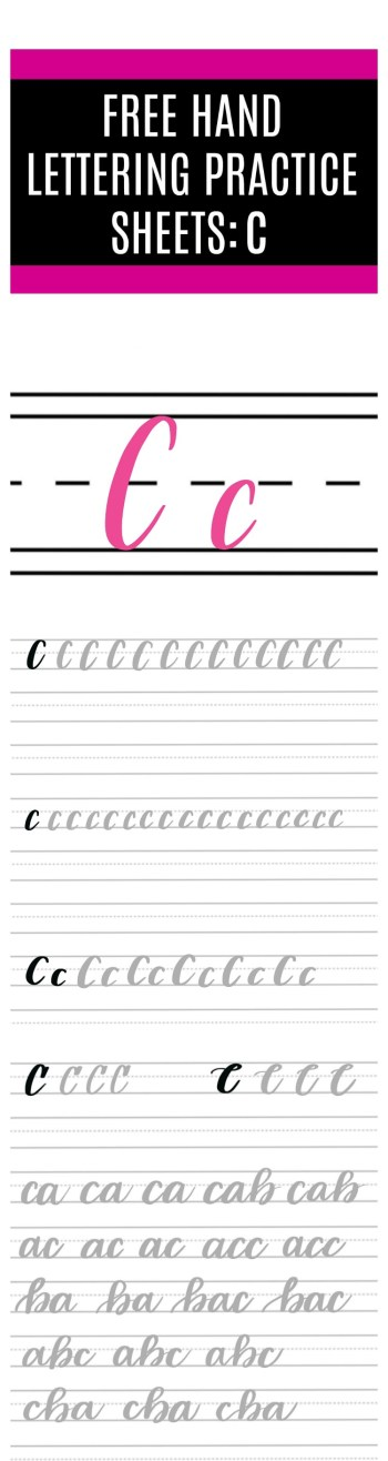 Brush Lettering C Practice Sheets