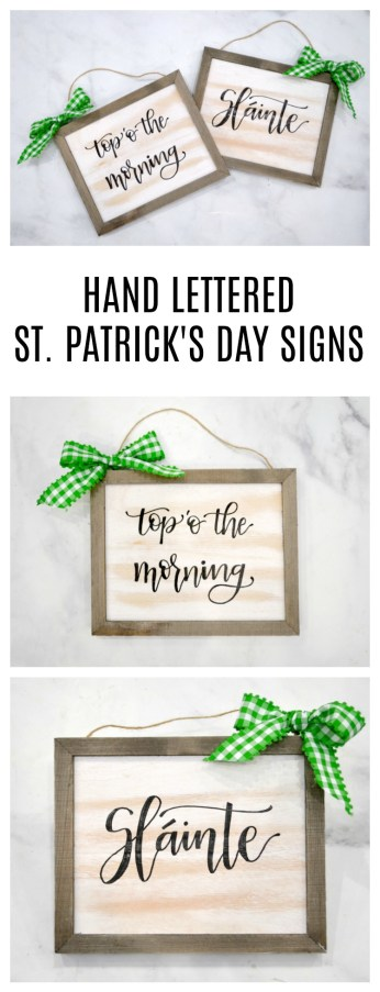 Hand Lettered St. Patrick's Day Signs