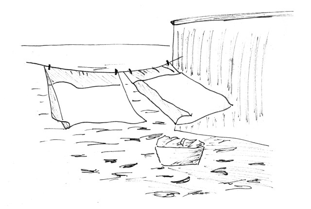 Line art of washing on a line by a corrugated shed on a sandy plain or desert
