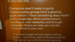 Inspiration from Muhammad Ali.