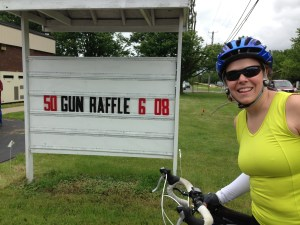 Mary and the gun raffle sign. We did not procure any firearms but we did have PB&J.