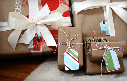 recycled christmas wrapping paper roll