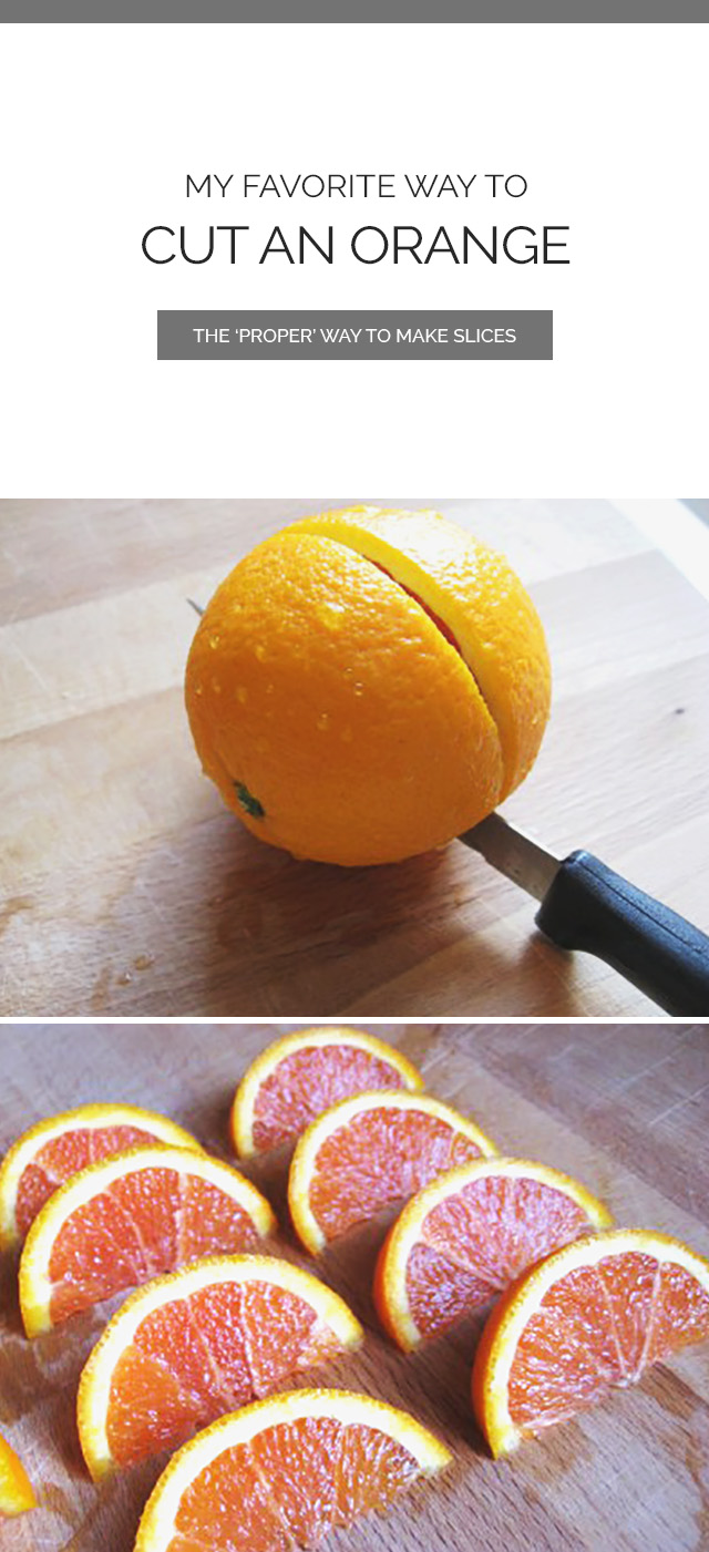 Knife Cutting An Orange Into Slices