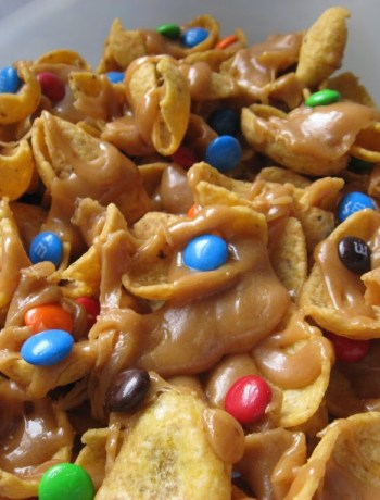 fritos with caramel and m&m's