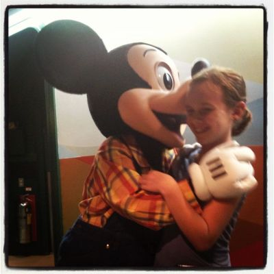 girl and Mickey mouse