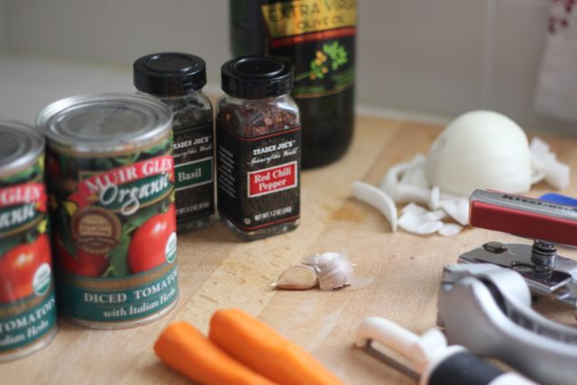 Ingredients for spaghetti sauce