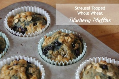 streusel topped whole wheat blueberry muffins