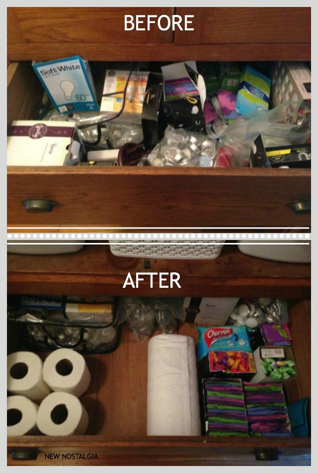 Before and after organizing drawers