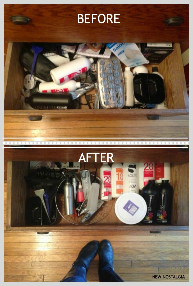 Before and after organizing hair product drawer